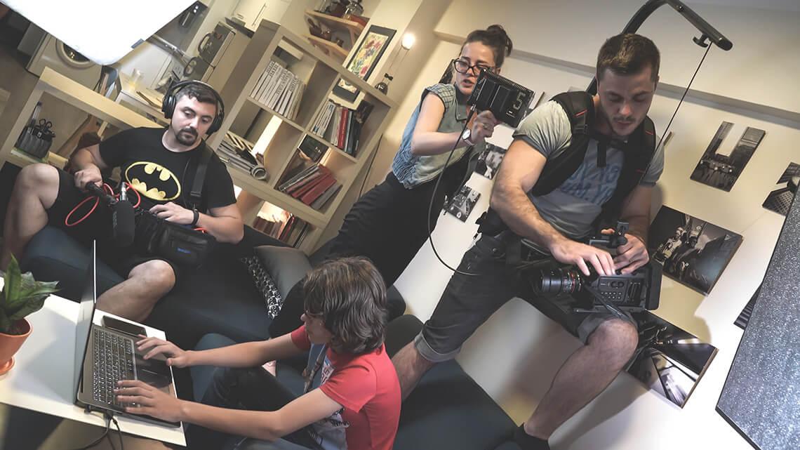 процес на работа за видеозаснемане
